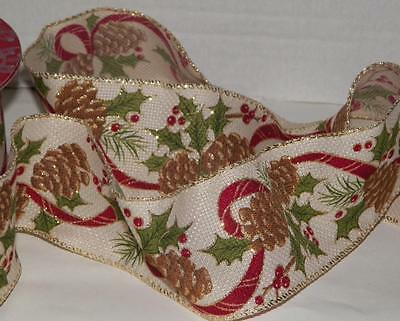 """5yd. Christmas RIBBON METALLIC WIRE EDGED PINE CONES-HOLLY Glitter 2½""""wide Craft"""