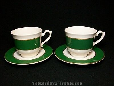 A Pair of Fantastic Teacups & Saucers by Homer Laughlin China, USA. Seville