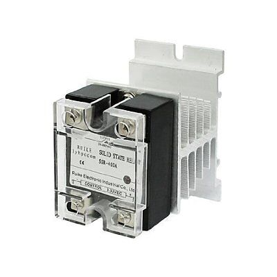 DC 3-32V to AC 24-480V 40A Single Phase SSR Solid State Relay w Heat Sink