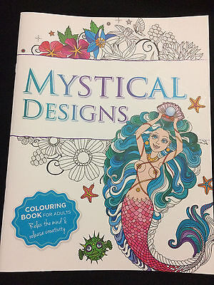 Mystical Designs Adult Colouring In Book Mindfulness Positive Psychology Calm