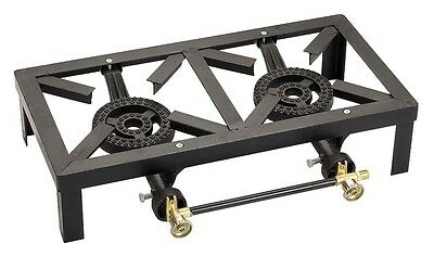 Double Country Cooker 2  1 Ring Burners Cast Iron LPG Gas Stove Steel Frame