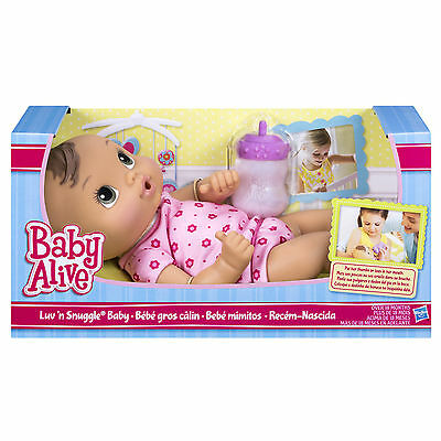 Baby Alive Doll Luv 'n Snuggle Baby Brunette with Bottle Toddler Girl Toy