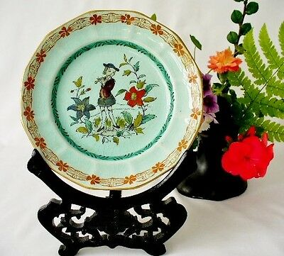 19th c Adams - Calyx Ware Plate - Hand Painted Flute Player