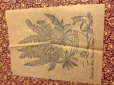 vintage embroidery transfer lupins