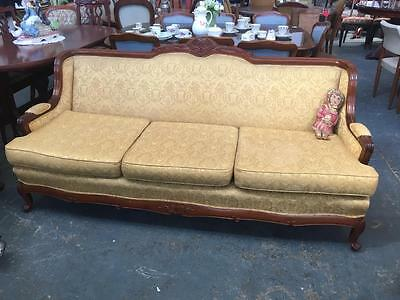 Antique/ Vintage French Louis Style Carved Mahogany Wingback  Lounge / Sofa