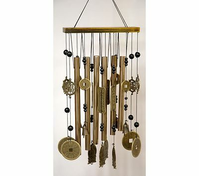 Feng Shui Buddha Wind Chime With Wealth Coins Garden Hanging Mobile