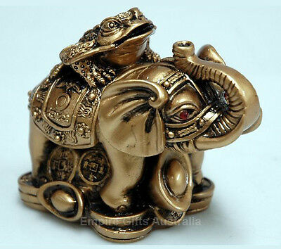 Feng Shui Money Frog and Elephant on Treasure Paperweight Gift