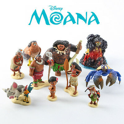 10x Disney Moana PVC Action Figures Cake Topper Decor Figurines Kid Play Set Toy