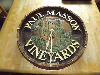 Vintage PAUL MASSON VINEYARDS Wine Barrel Clock
