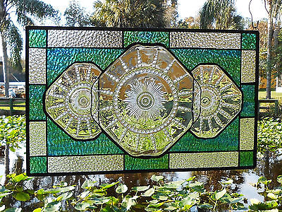 Stained Glass Window Panel, Antique Depression Glass, OOAK Stained Glass Transom