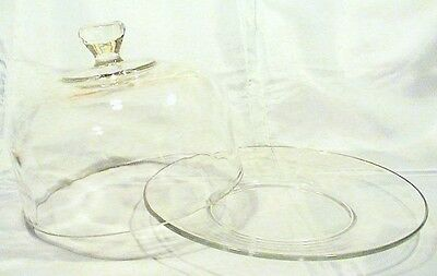 Vintage Round Heavy Glass Butter / Cheese Ball Serving Dish