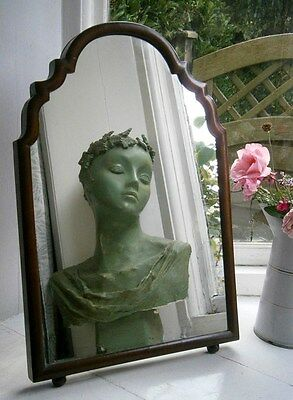 Charming Antique Wooden Framed Freestanding/lean -To Dressing Table Top Mirror