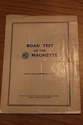 MG Magnette Road Test Reprinted by MG Cars 1954
