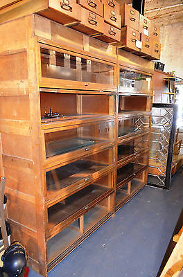 2 Vintage Walnut Built-in Barrister Bookcase Cabinets Union Stamped LOWERED FIRM