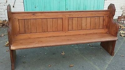 Antique church pew settle monks bench restored