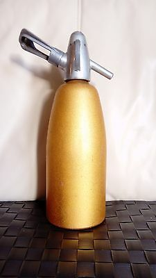 Vintage  Gold Coloured Aluminium Soda Syphon & Gas Canister Holder
