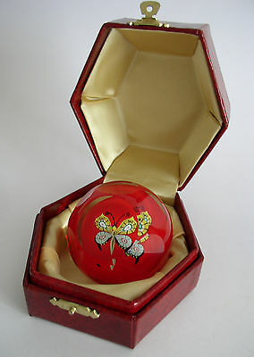 RARE PP192A  PERTHSHIRE FACETED RED BUTTERFLY  PAPERWEIGHT 1998 No. 36 BOXED