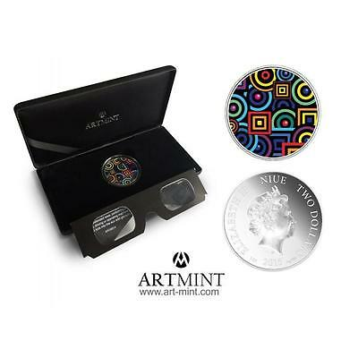 Silver Proof 1oz  Niue 2$ 2015  CHROMADEPTH coin with 3D Glass!