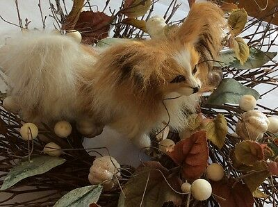 REALISTIC PAPILLON PUPPY DOG REPLICA FUR ANIMAL Prop Toy