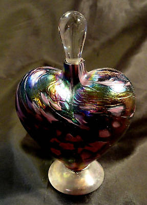 1997 Vines Heart Perfume Vial Stained Glass signed