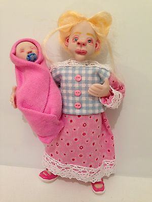12th Scale OOAK Mother, Baby & Dog Set Of Dolls. Artist Made Hand Sculpted