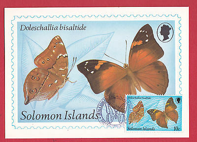 Solomon Islands, 1982 - Stamped and Cancelled Postcard - Butterflies - FDI.
