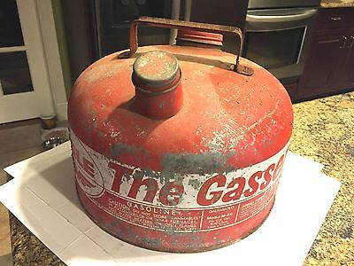 "Vintage Eagle ""the Gasser"" Red 2 1/2 Gallon Galvanized Steel Gas Can"