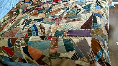 Antique Crazy Patchwork Quilt Early 1900's