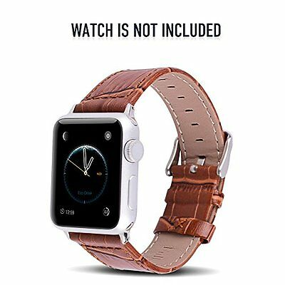 Apple Watch Series 2 Band 42mm Genuine Leather Stainless Steel Replacement Strap