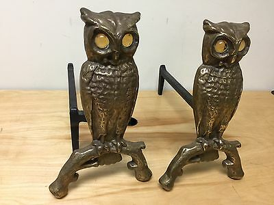 Pair of Vintage Antique Cast Iron Owl Fireplace Andirons w/ Amber Glass Eyes