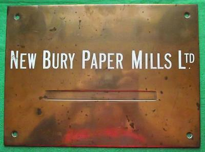 "Genuine Brass Vintage Antique Sign Plaque : New Bury Paper Mills Ltd  12"" X 8"""