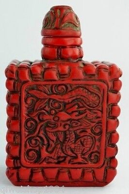 China Collectibles Old Decorated Handwork Coral Carving Dragon Snuff Bottle