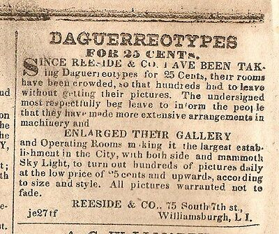 Reeside & Co. 25 Cents Daguerreotypes & Buswell's Daguerreotypes Ads 1853 News