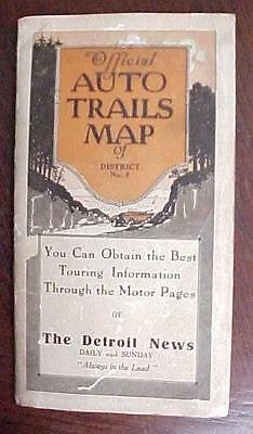 "RARE 1922 Rand McNally Auto Trails Map District 6 The Detroit News  33""x26"" Map"