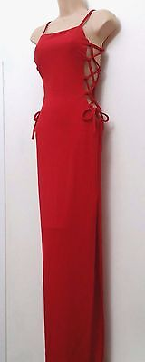 Club L Red Light Bodycon Maxi Evening Dress With Side Lacing, Deep Split 10 - 16