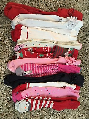 Bundle of baby girls tights 0-6 months