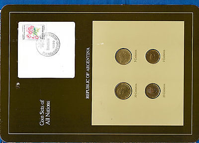 Coin Sets of All Nations Argentina 50, 10, 5, 1 Centavos 1987 UNC