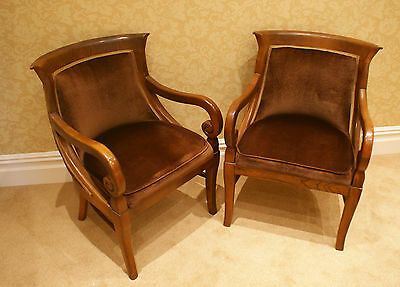 2 Armchairs/Dining Chairs Carved Solid Mahogany? Wood
