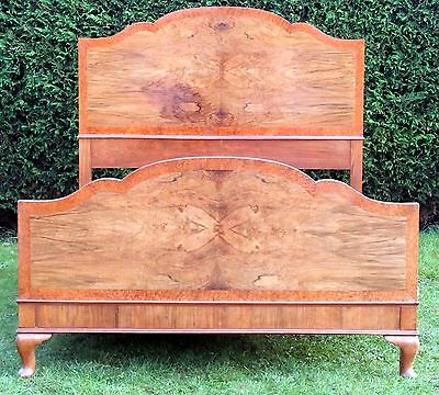 Art Deco Walnut Double bed with Pine Base