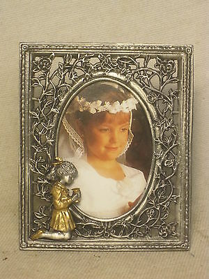 First Communion frame ornate metal Girl Religious Christian small picture photo