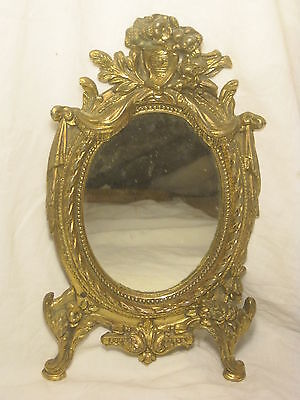 *incomplete antique metal frame oval mirror ornate floral 7289 solid*missing