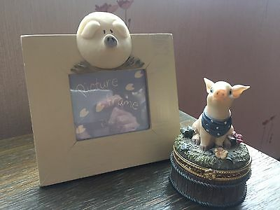 Photo frame and trinket box with Piggy decoration