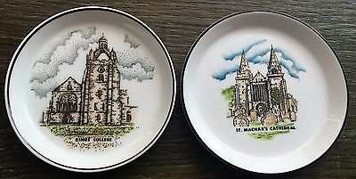 Pair of small Coalport plates - St. Machar's Cathedral/ King's College