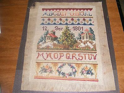 Antique 1801 sampler from northeast ct farm