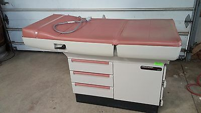 Midmark 404 Adjustible Medical Exam Table w/ Drawers and Stirrups - Salmon Color