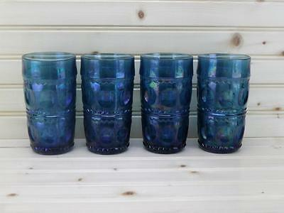 Colony Color Crown - Blue Carnival (4) 12oz King's Crown Tumblers Vintage USA