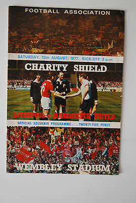 Liverpool v Man Utd programme, Charity Sheild, 1977, Autographed By Tommo.