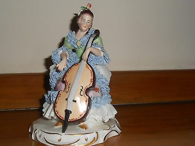 """Beautiful Vintage Lace Dresden Figurine 7.5"""" TALL PLAYING CELLO"""