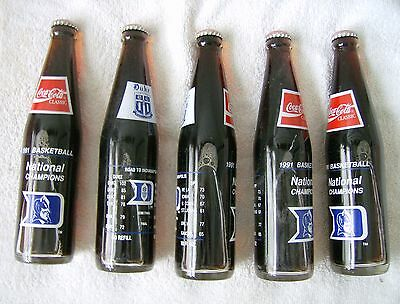 Lot of 5 10 oz COCA COLA COMMEMORATIVE BOTTLE - 1991 DUKE BASKETBALL NCAA CHAMPS