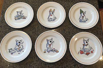 William Sonoma Bull Terrier Dog Trouble Plate Set 6 Plates